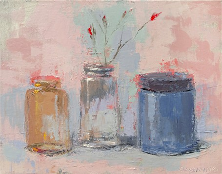 Still Life (3 Jars & Red Flowers)