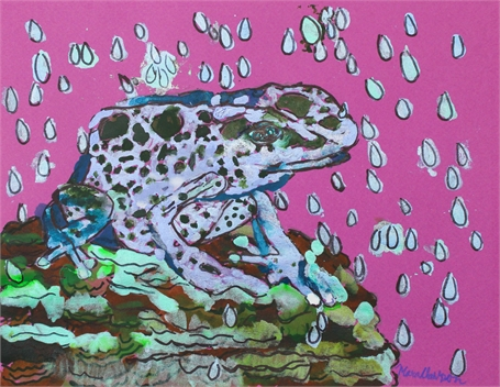 Blue Frog Under the Rain Drops