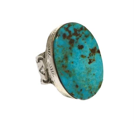 Ring - Sterling Silver Clean Line Turquoise Oval Adjustable