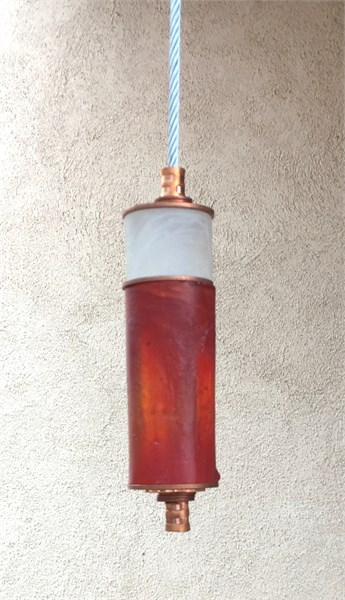 Hanging Totems - Single Tube - Frost & Copper  Cast Glass