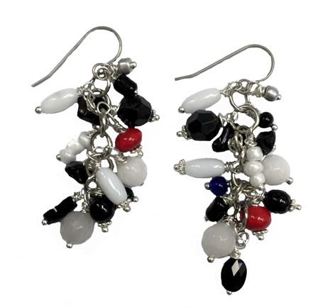 Earrings - Containing Onyx, Jet, Carnelian, Quartz, Calcite with Titanium Wire D 215