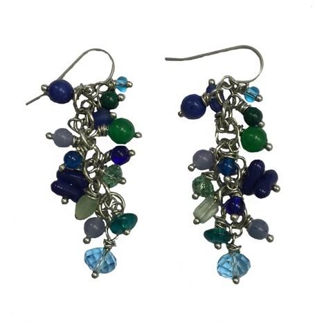 Earrings - Containing Lapis, Jade, Prehnite, Aquamarine, Glass, Amazonite, Azurite With Titanium Wire D 213