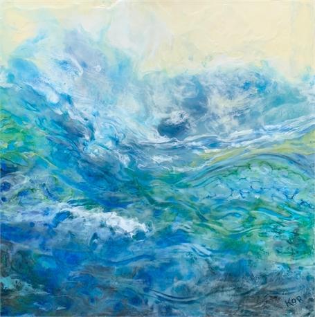 """Kathy Ostrander Roberts   Spring Tide   Encaustic   30"""" X 30""""   Sold"""