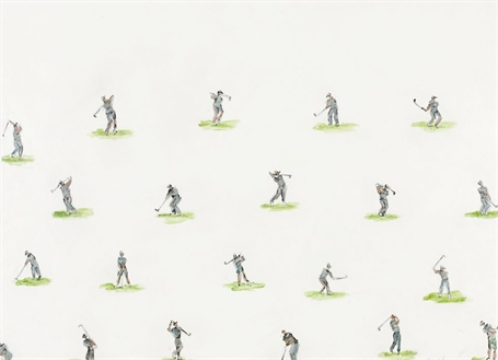 #487 Golfer with Greens