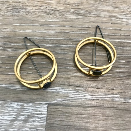 Gold Plated Earrings: 2 Circle Structure