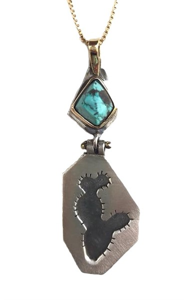 Necklace - Prickly Pear Silhouette With Nevada Turquoise 18K Gold