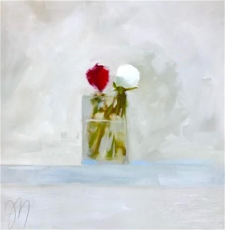 "Jill Matthews | White Peony | OIl on Canvas | 24"" X 24"" | Sold"