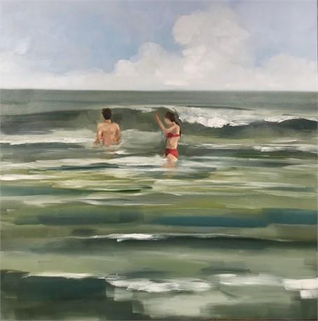 "Jill Matthews | Waders | Oil on Canvas | 36"" X 36"" | $2,950.00"