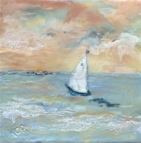 "Kathy Ostrander Roberts | New Horizon | Encaustic on Panel | 12"" X 12"" 