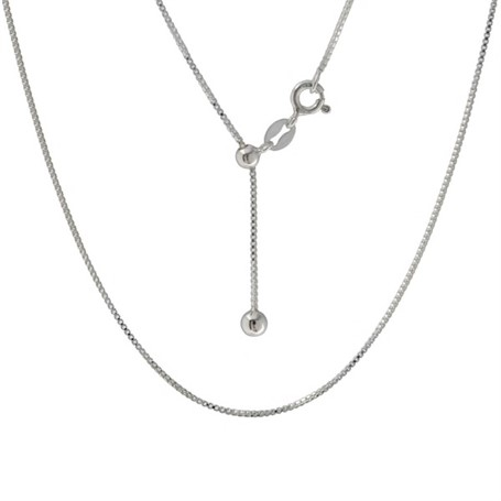 Necklace - Adjustable Sterling Silver Box Chain 20