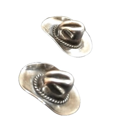 Earrings - Vintage Sterling Silver Cowboy Hats