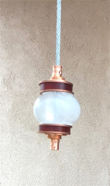 Hanging Totems - Single Ball -  Frost & Copper Cast Glass