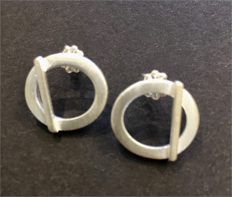 Earrings: Square Stock Oval with Bar Posts