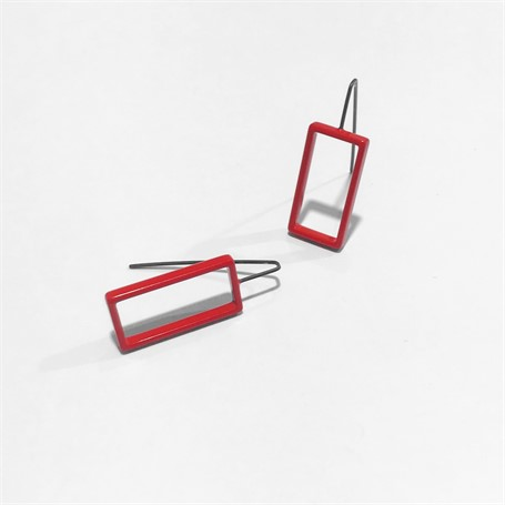 Powder Coated Earrings: Large Red Rectangle