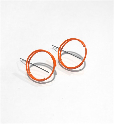 Powder Coated Earrings: Small Continuous Circle in Orange