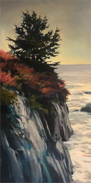 "Margaret Gerding | Rocky Coast I | Oil on Canvas | 36"" X 18"" 