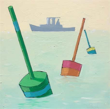 "David Witbeck | Buoy Markers  | Oil on Panel | 12"" X 12"" 