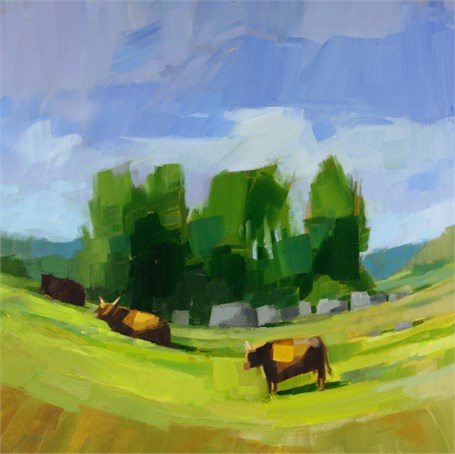 "Philip Frey | See a Cow Every Day | Oil on Canvas | 20"" X 20"" 