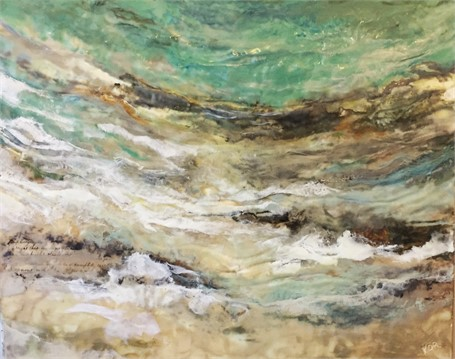 "Kathy Ostrander Roberts | Along The Beach | Encaustic | 24"" X 30"" 