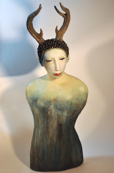"Elizabeth Ostrander | Guardian | Acrylic on Ceramic | 34"" X 13"" 