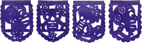 Papel Picado Banner - Skeleton Altar Paper Purple or Multi