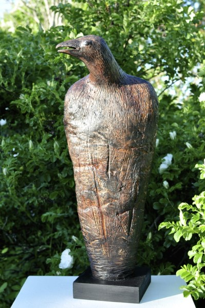 "Elizabeth Ostrander | Crow Totem | Ceramic and Acrylic on Wood Base | 23.5"" X 9"" 