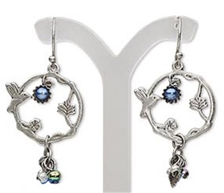 Earrings - Hummingbird with flower ring with dangle charms