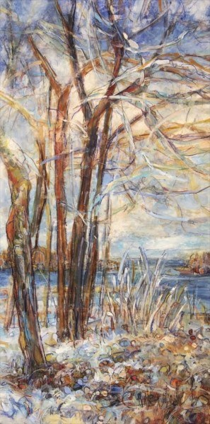 "Susan Wahlrab | First Snow | Varnished Watercolor on Archival Claybord | 12"" X 6"" 