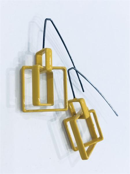 Earrings: 3 Medium Mustard Squares