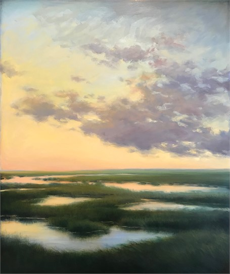 "Margaret Gerding | Evening on the Marsh | Oil on Panel | 36"" X 30"" 