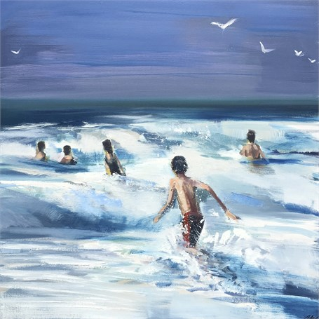 "Craig Mooney | Surf Riders | Oil | 38"" X 38"" 