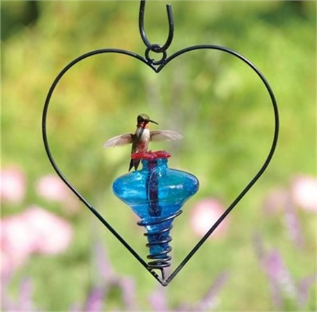 Hummingbird Feeder - Mini Blossom Heart Hanging Assorted Colors
