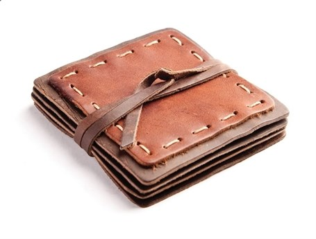Leather Coasters Set of Four Saddle & Dark Brown - Hand Stitched RU16