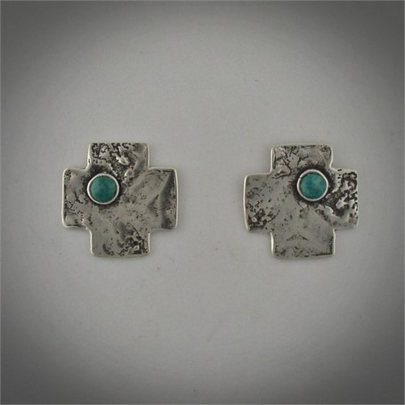 Earrings -  A sterling Hopi morning star set with a turquoise cabochon. Post earring.  #30520
