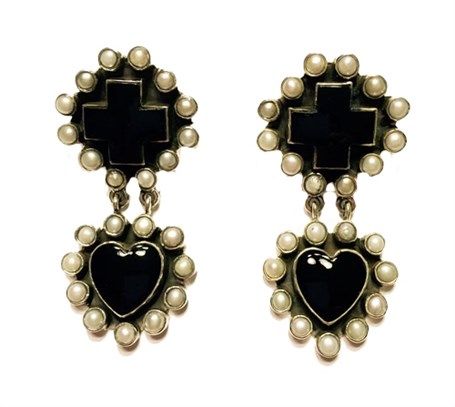 Earrings - Black Onyx Cross & Heart with Pearl Surround