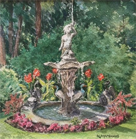 "Karen McManus | Garden Fountain | Watercolor on Canvas | 4"" X 4"" 