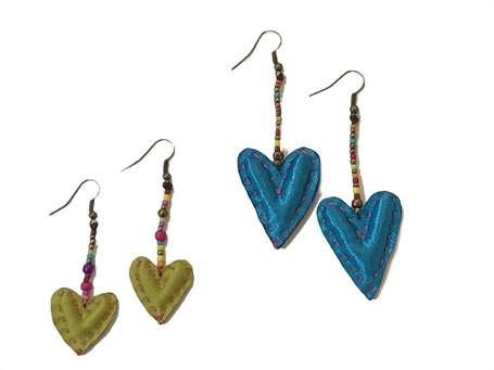 Earrings - Handsewn Fabric Hearts