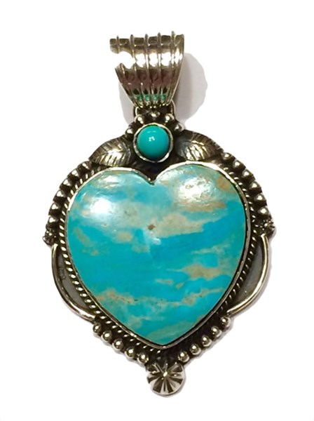 Pendant - Medium Turquoise Heart w/Dot