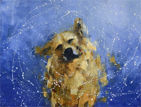 "Rebecca Kinkead | Shake (Blue Yonder) | Oil and Wax on Linen | 36"" X 48"" 