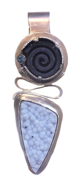 Pendant - Mother Earth - Natural Blue Druzy Cabochon, Natural Black Laser Cut Spiral Psilomine Druzy, Blue Faceted Sapphire, Sterling & Fine Silver  2529