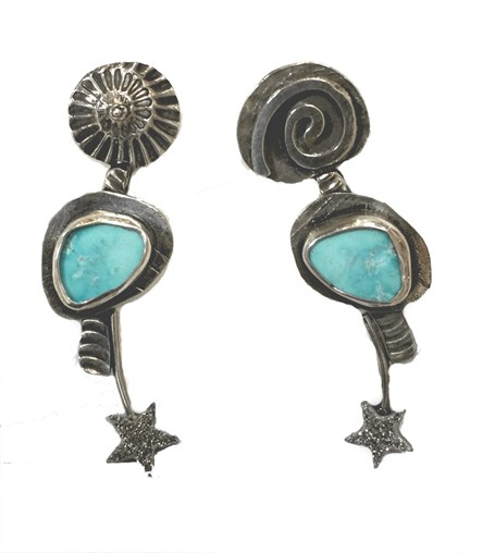 Earrings - Fine Silver with Turquoise and Titanum Drusy Stars 2402
