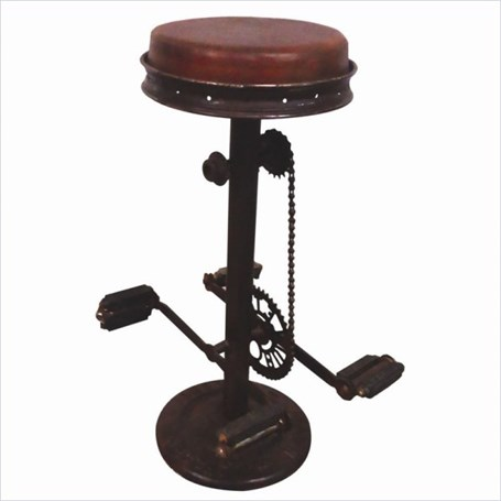 Chair - A Chair - Petal Stool Brown Leather & Distressed Metal