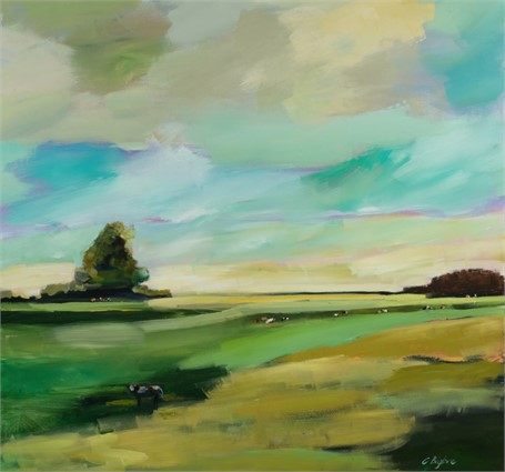 "Claire Bigbee | Buttercup Fields, A Quiet Escape by Casco Bay | Acrylic & Oil | 48"" X 48"" 