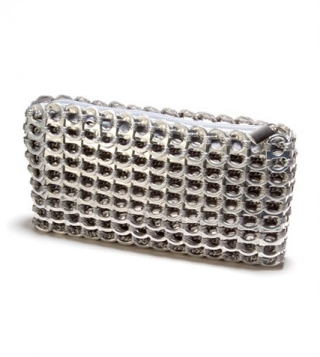 Mini Clutch - Silver Crocheted Pull Tab
