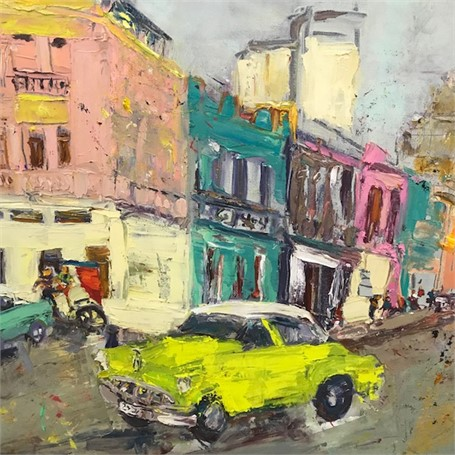 La Vida Cuba - Lime Green Car with White Top