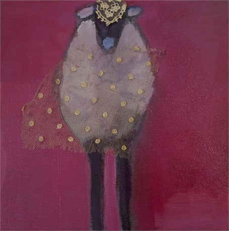 "Claire Bigbee | Fluffy | Oil and Lace | 8"" X 8"" 