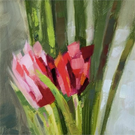 "Philip Frey | Tulip Couple | Oil on Linen Panel | 6"" X 6"" 