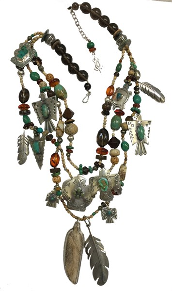 KY 1248 Three strand necklace with Picture Jasper, Smoky Topaz & Sterling Silver