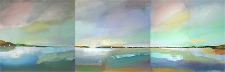 "Claire Bigbee | Serenity & Airy Skies at Casco Bay - Triptych |  | 24"" X 72"" 