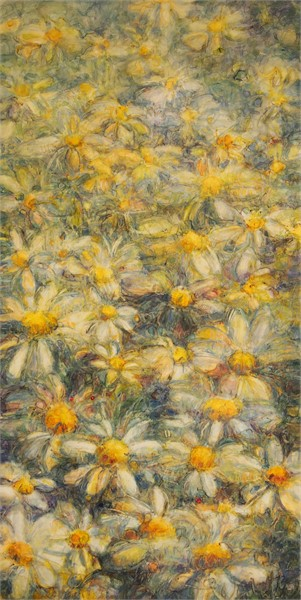 "Susan Wahlrab | Daisy, Daisy | Varnished Watercolor on Archival Clayboard | 24"" X 12"" 